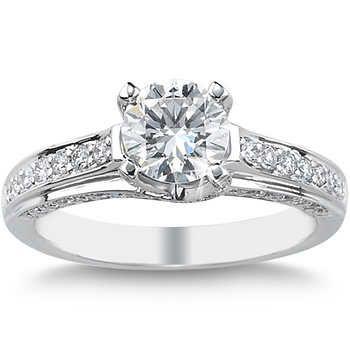 7d3c5a78dbf Round Brilliant 1.43 ctw VS2 Clarity, I Color Diamond Platinum Ring ...