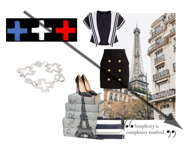 """""""The French to the pure state"""" by anyme ❤ liked on Polyvore featuring Dolce&Gabbana, Balmain, Christian Louboutin and Susan Shaw"""