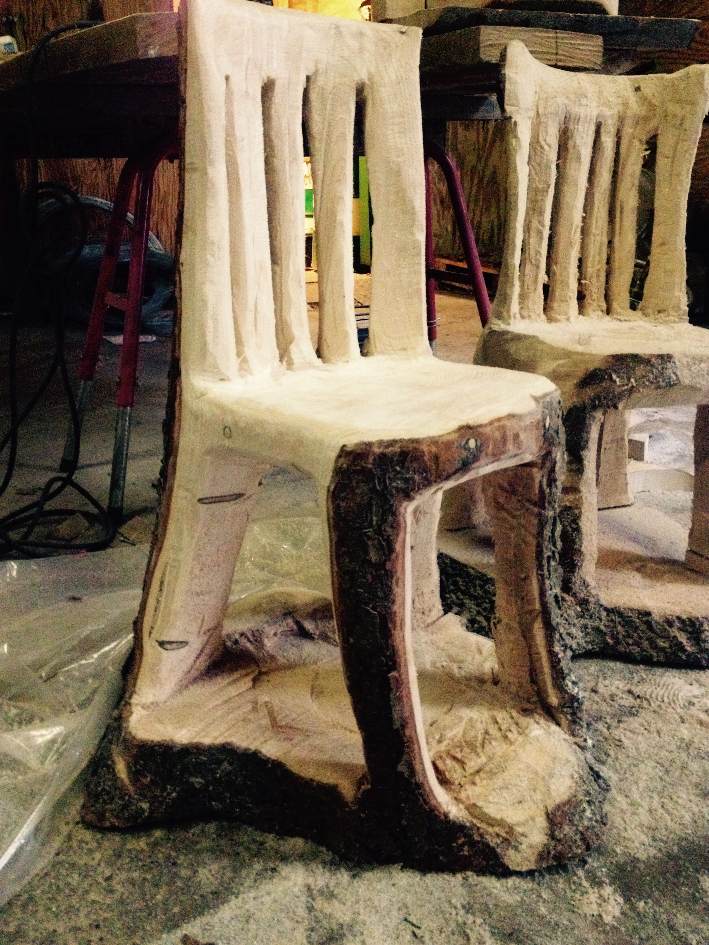 Chair In Progress   Made With Chainsaw From Log Of Wood.