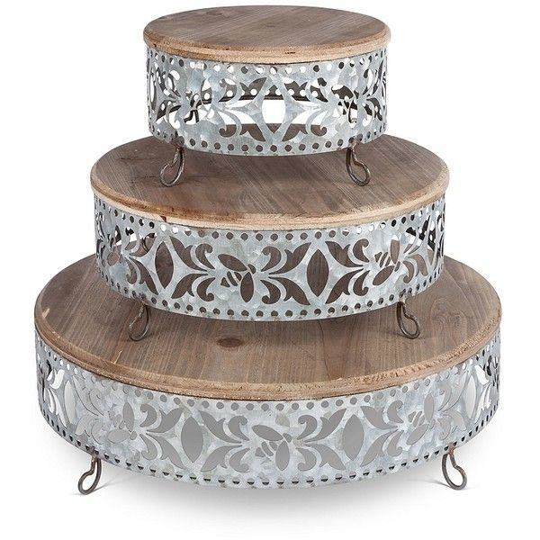 Fiesta Galvanized 3 Tier Serving Stand 100 Liked On Polyvore Featuring Home Kitchen Dining Serveware Three Tier Stand Tiered Stand Three Shelf 3 Sh Com Imagens