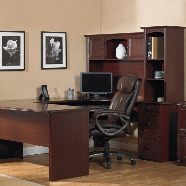 NEW U-Shaped Office Executive Desk WITH Hutch, Cherry (+ L-shape - office depot