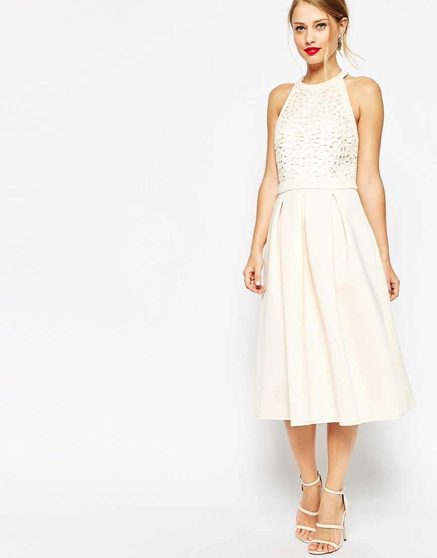 Image 1 of ASOS Cutwork Midi Skater Dress   Clothes and More ...