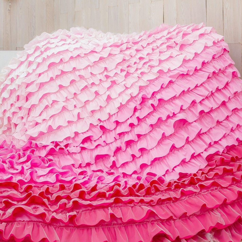 Pink Ombre Ruffle Duvet Cover Set Ruffle bedding, Ruffle