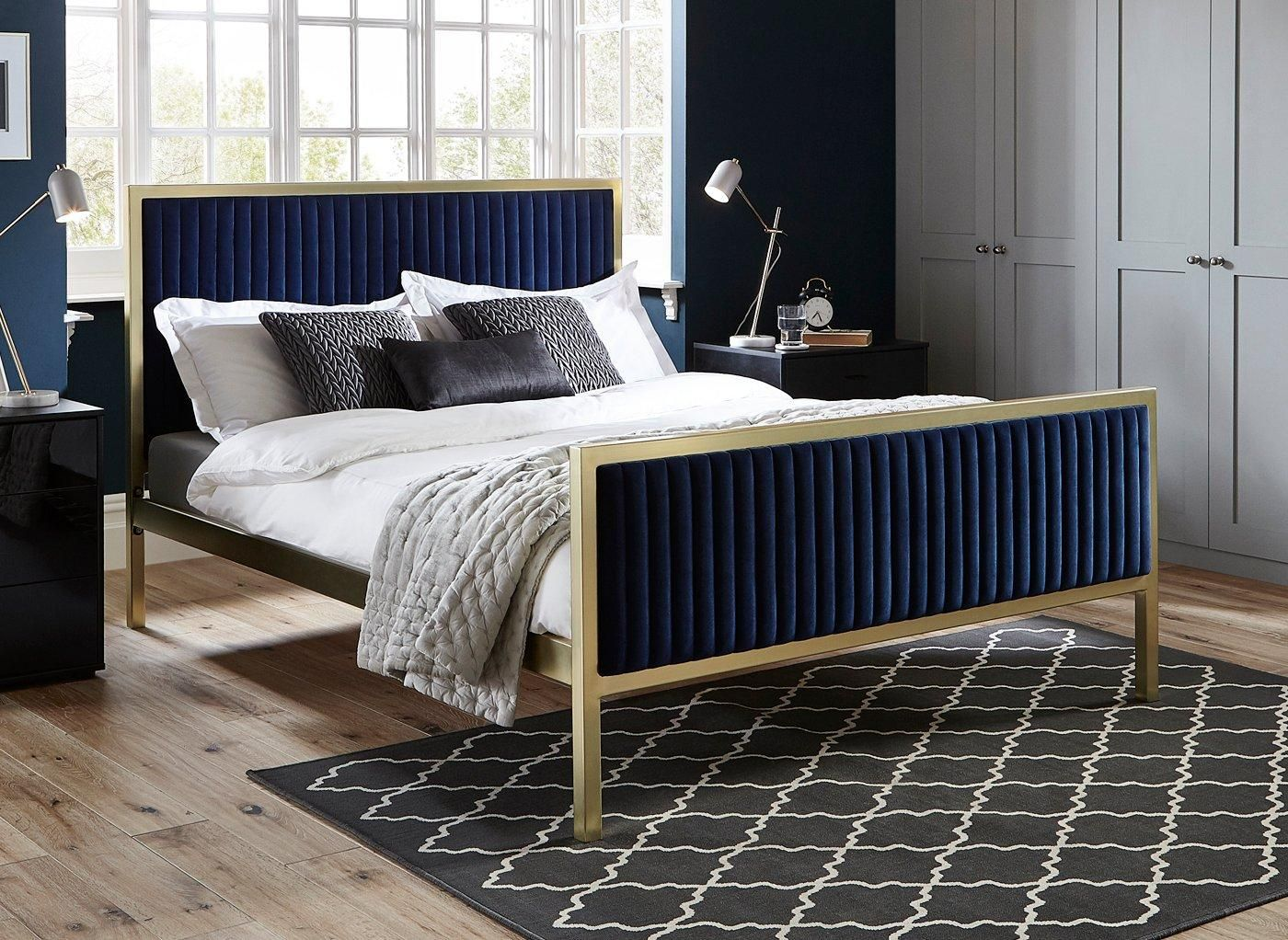 Addison Gold And Blue Metal Bed Frame 5 0 King Size Dreams