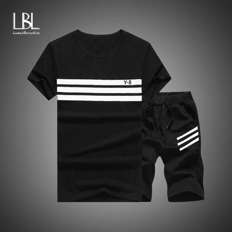 6c2d17176e0b Summer Men Set Sporting Suit Men Short Sleeve T shirt+Shorts Sets Two  Pieces Fitness Set Sweat Suit Fashion Casual Tracksuit Men
