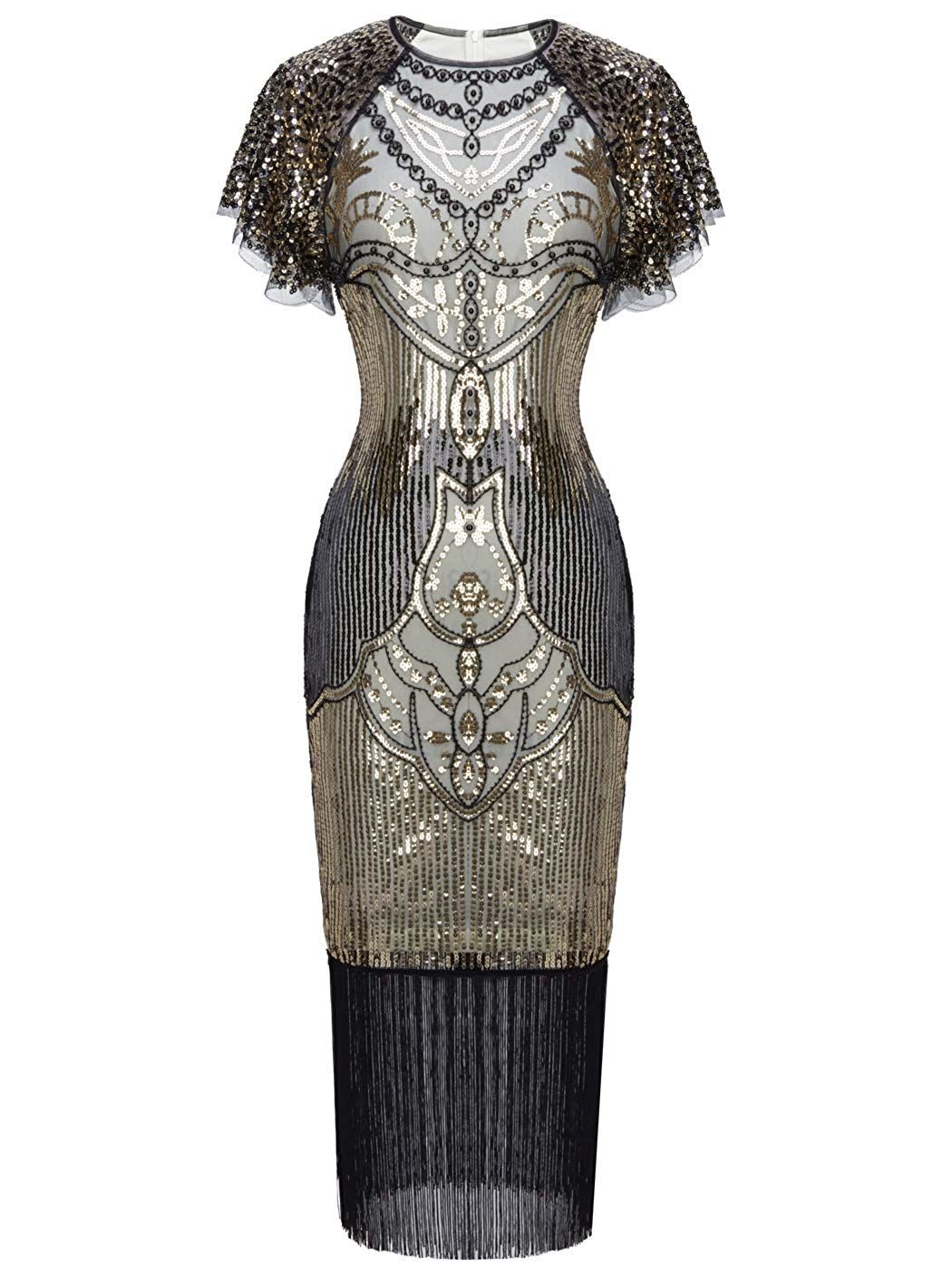 94652a45 FAIRY COUPLE 1920s Knee Length Flapper Party Cocktail Dress with Sequined  Cap Sleeve Layer Tassels Hem at Amazon Women's Clothing store:
