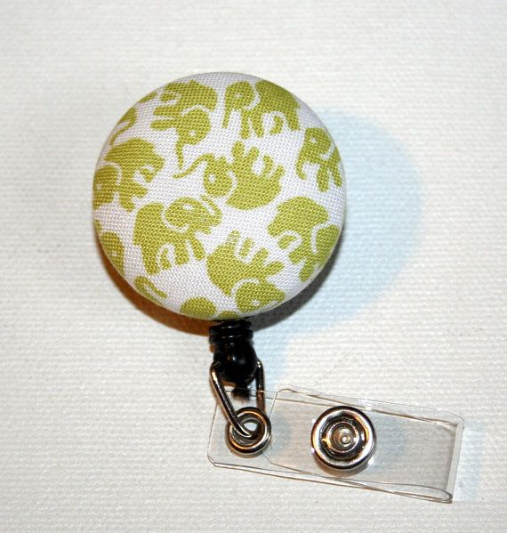 Retractable ID Badge Holder  Fabric Button   Lime  by Laa766, $6.25  You can clip these onto scrubs, shirts, key fobs, lanyards, belts, purses, or school backpacks. The possibilities are endless!