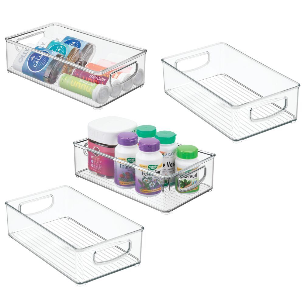 Medium Plastic Bathroom Storage Bin For Vitamins 10 X 6 X 3 Set Of 4 By Mdesign In 2020 Plastic Storage Container Organization Storage