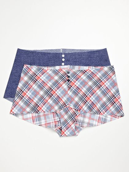 Commando  Button Boy Shorts summer plaid & denim