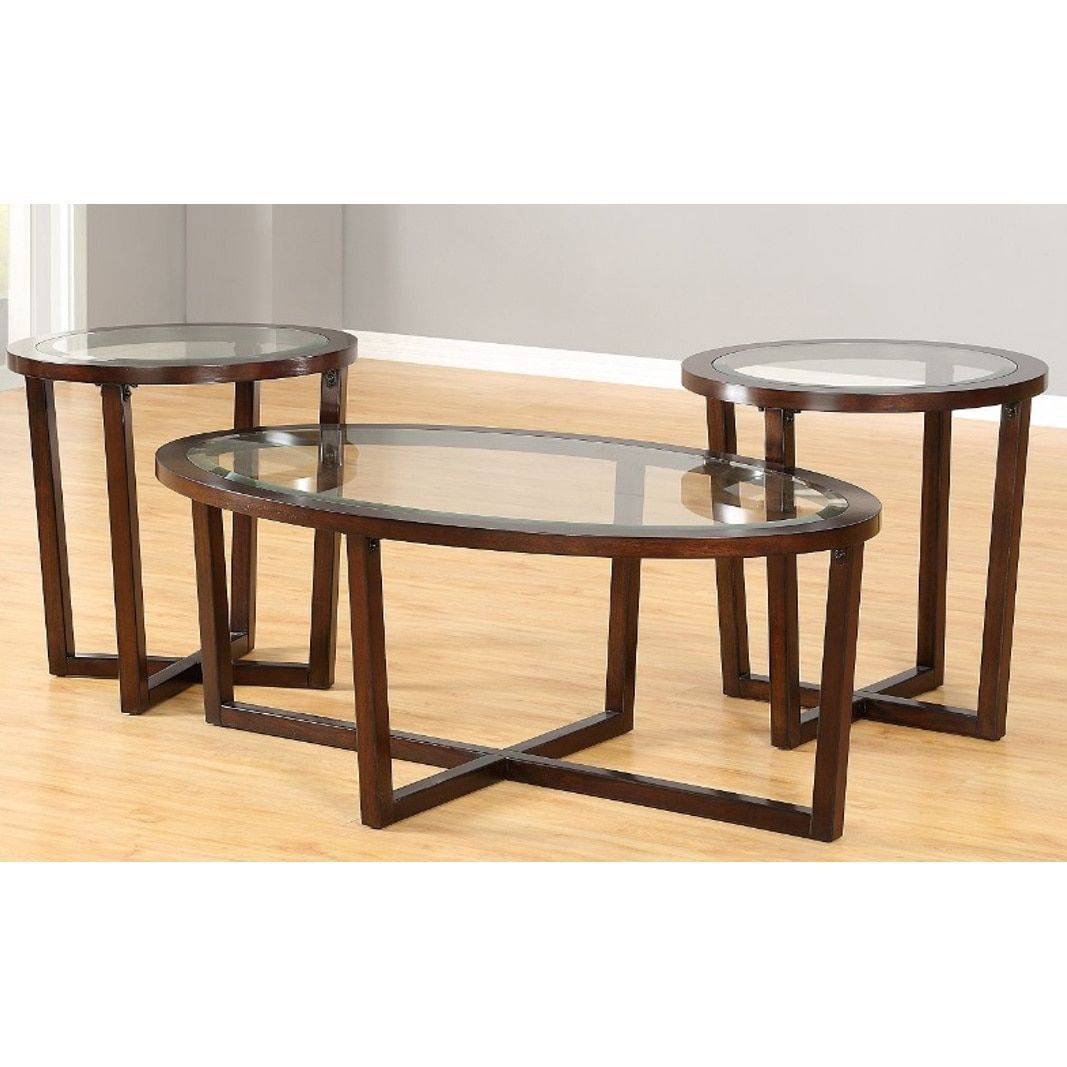 Simmons Casegoods Cherry Finish Hardwood And Gl 3 Piece Table Set Pk Tbls Oval C T Rnd En Brown