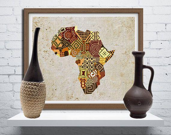 African Map Art African Print Map Decor African Wall Art African Wall Decor African Shop Afrocentric Art African Wall Art Afrocentric Decor African Decor