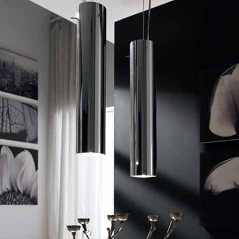 Hi-Fi. Pendant lamp in chromed metal with bulb