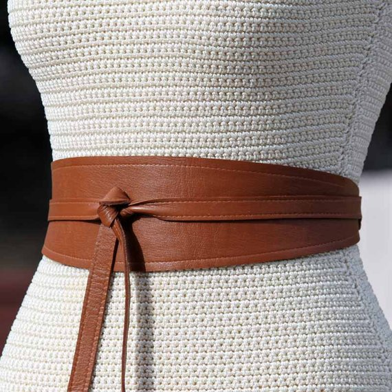 f99eb8eba5 REVERSIBLE Denim   Leather Brown Wrap Belt - obi style sash - choose custom  leather color - small me