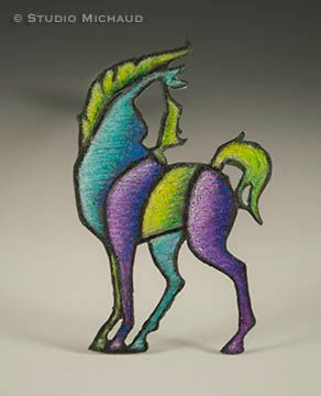 Jewel-tone copper horse pin/brooch by StudioMichaud on Etsy