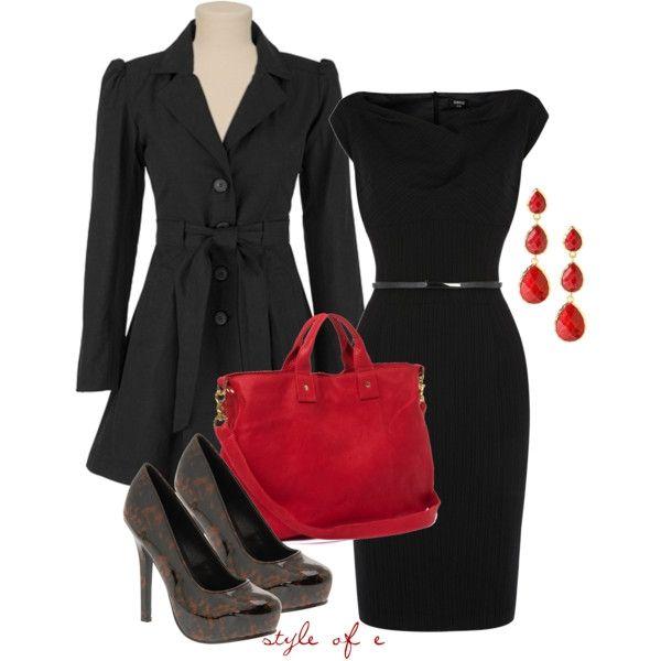 Pop of Red at Work (Pinstripe Workwear Dress $115)