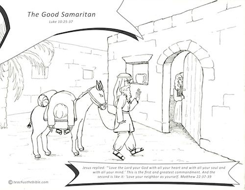good samaritan lesson coloring page teach us the bible. Black Bedroom Furniture Sets. Home Design Ideas