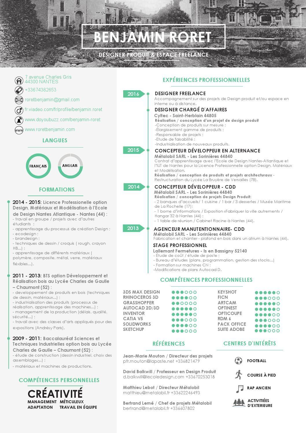 Cv Benjamin Roret Designer Produit Freelance Design Produit Modelisation Design