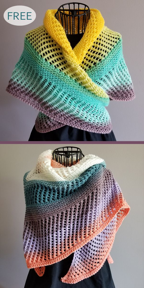 Self-Striping Shawl Knitting Patterns #freeknittingpatterns