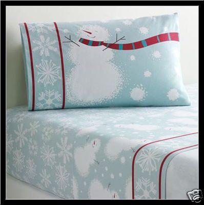 light blue snowman heavy cotton flannel sheet set 3 pc twin snowmen new ebay - Christmas Sheets Twin
