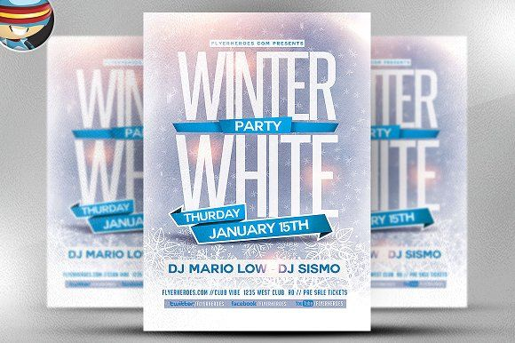 Winter White Party Flyer Template By Flyerheroes On