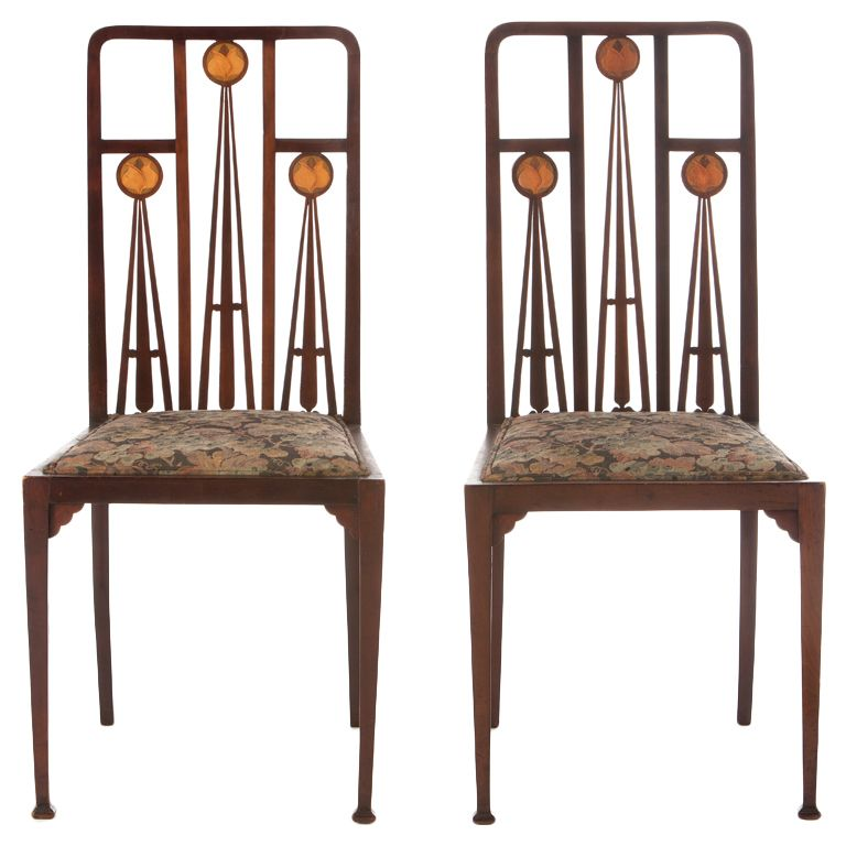 Art Nouveau Marquetry Inlaid Chairs By Liberty and Co.   From a unique collection of antique and modern side chairs at http://www.1stdibs.com/furniture/seating/side-chairs/