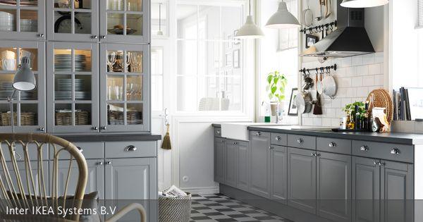 Graue Einbauküche im Landhausstil | Haus küchen ...