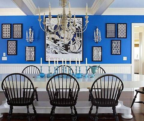 Fun Mix, Love The Windsor Chairs, Blue With The Crisp White.