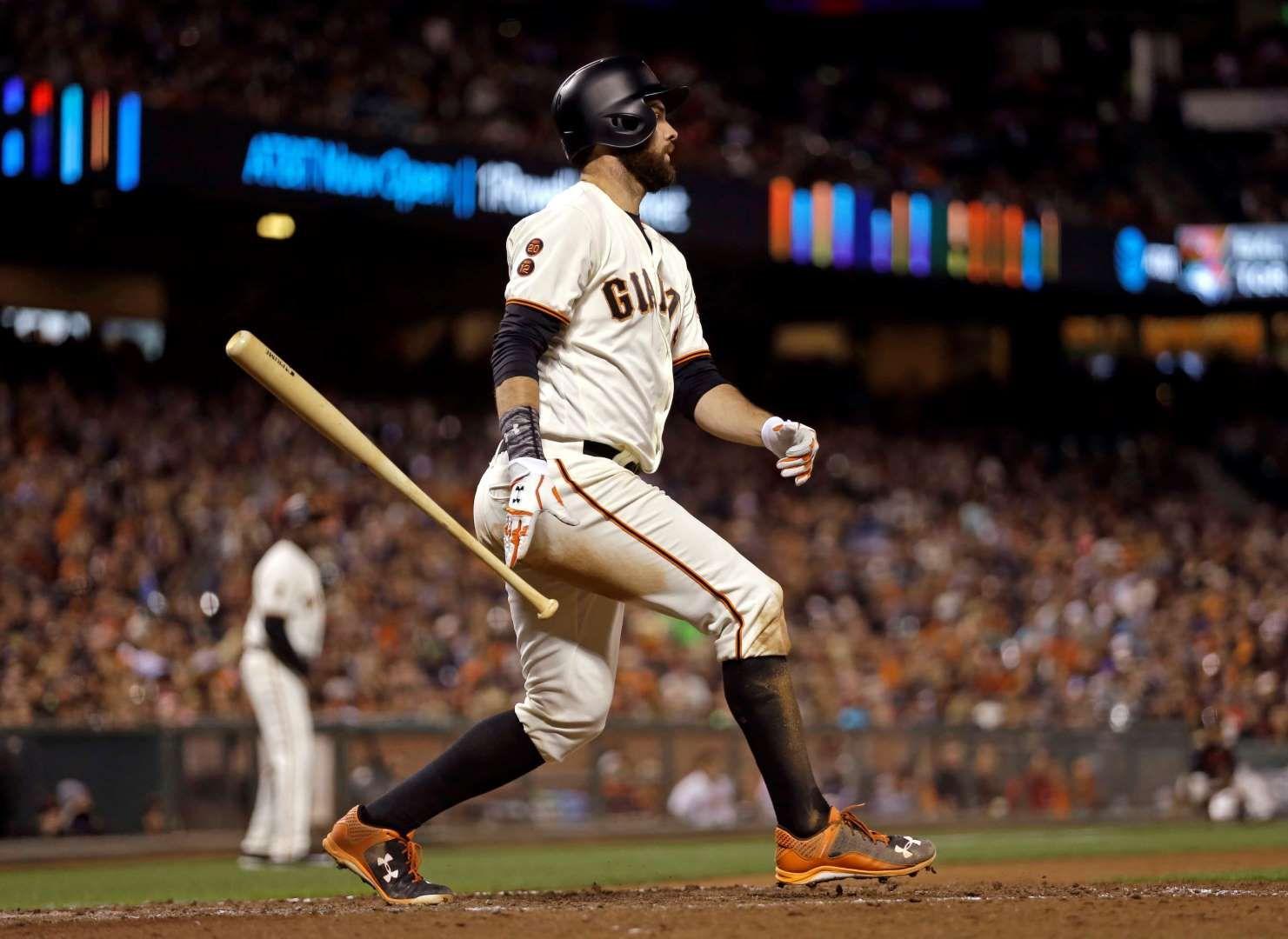 Wood Toss The Giants Brandon Belt Drops His Bat After Hitting An Rbi Single Against The Rockies On Sept 27 In San Francis Major League Baseball Mlb Baseball