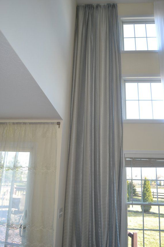 Sheer Net Extra Long Curtains Custom Made 12 13 14 15 16 17 18 20 24 Ft Silver 2 Story D Free S
