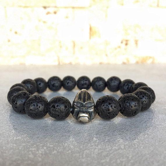 Hommes//femmes Gemstone Bracelet Lava Rock Oeil de Tigre 925 Sterling Silver Skull Spacer