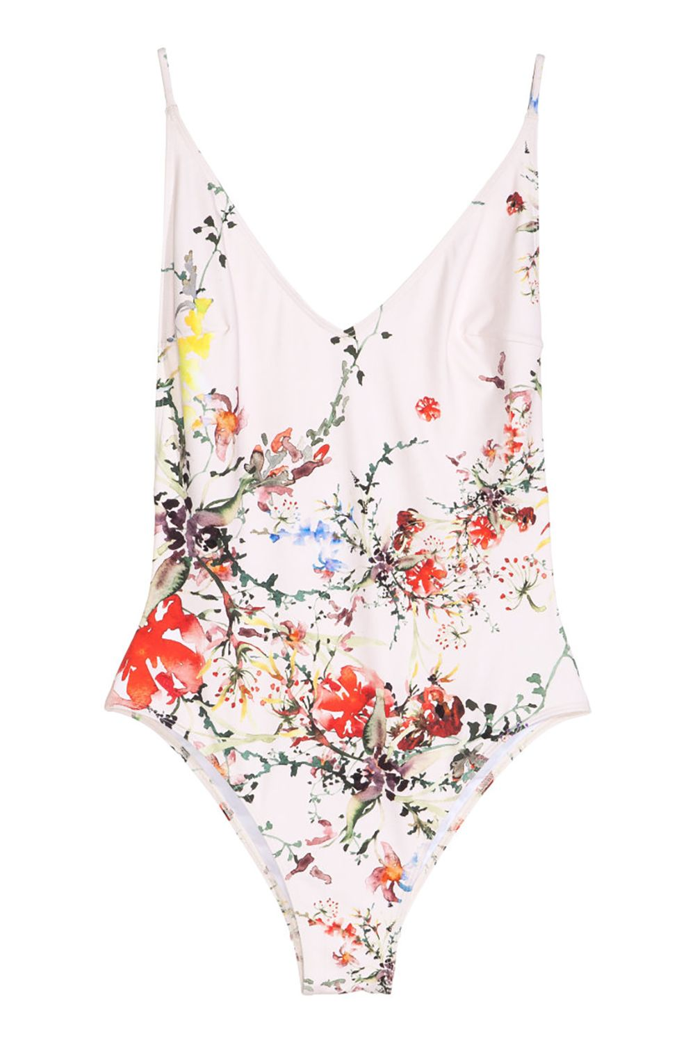 A floral swimsuit worth all that sand everywhere