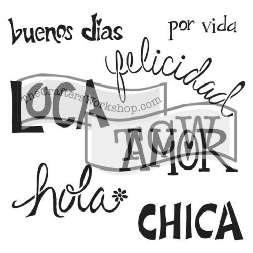 Crafters Workshop Stencil 6x6 Chica Words