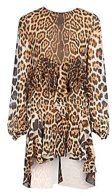 b8813722722a Saint Laurent Women's Leopard Print Silk Ruffle Dress in 2019 ...