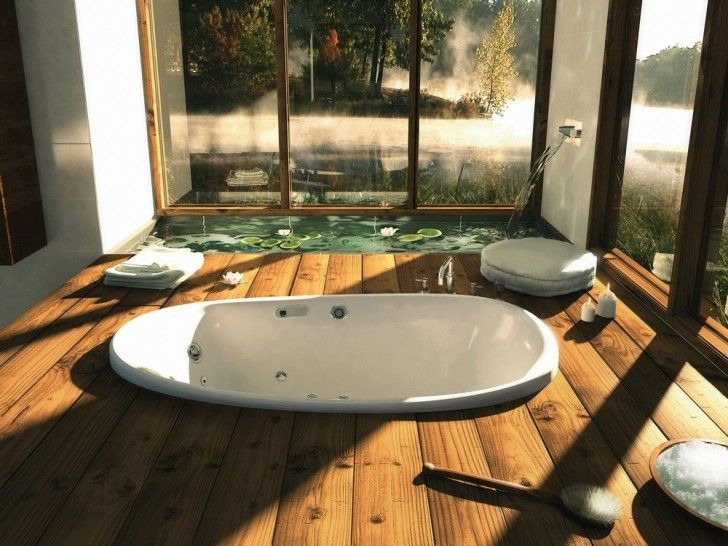 Bathroom, White Porcelain Bathtub Undermount Floor Brown Yellowish Wooden Floor Glass Wall With Wooden Frame Stainless Steel Roman Tub Faucets Wall Faucet And Fishpond ~ Enchanting Bathroom Design in a Breezy and Comfy Nature Concept