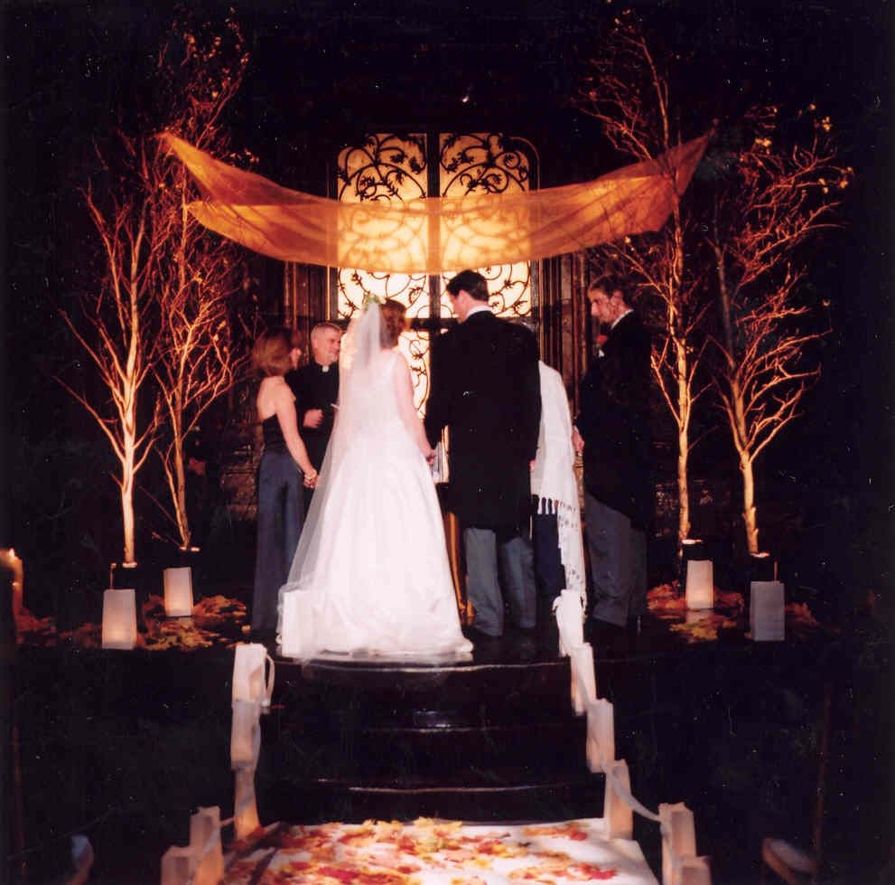 Wedding decorations inside church  possibly cheaper way of having a fall chuppah just need the upper