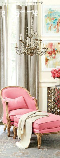 Pink chair. Designer fabrics and lighting DesignNashville.com ...