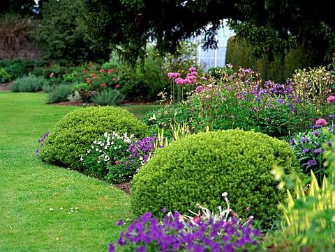 MARY COLTMAN\u0027S PINK, BLUE AND MAUVE BEDS IN THE WALLED GARDEN AT