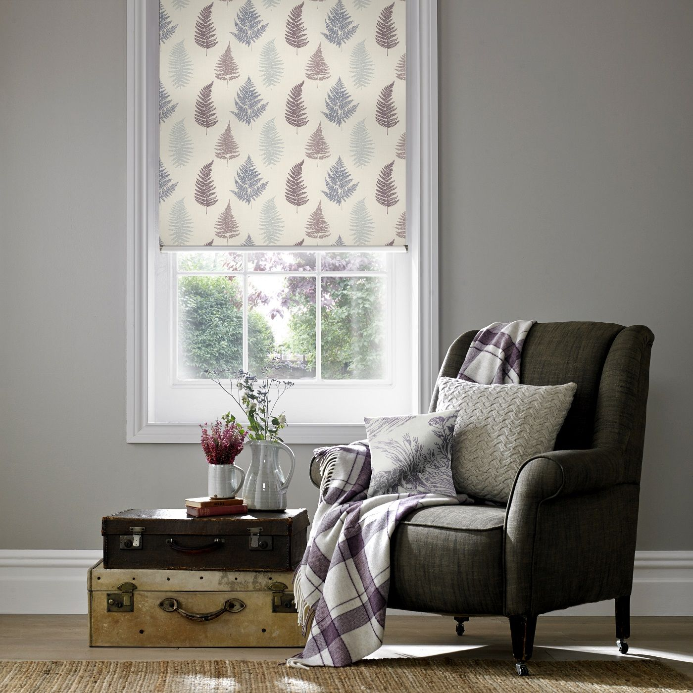 Style Studio Roller Blind In Fern Grape Contemporary Window Dressing