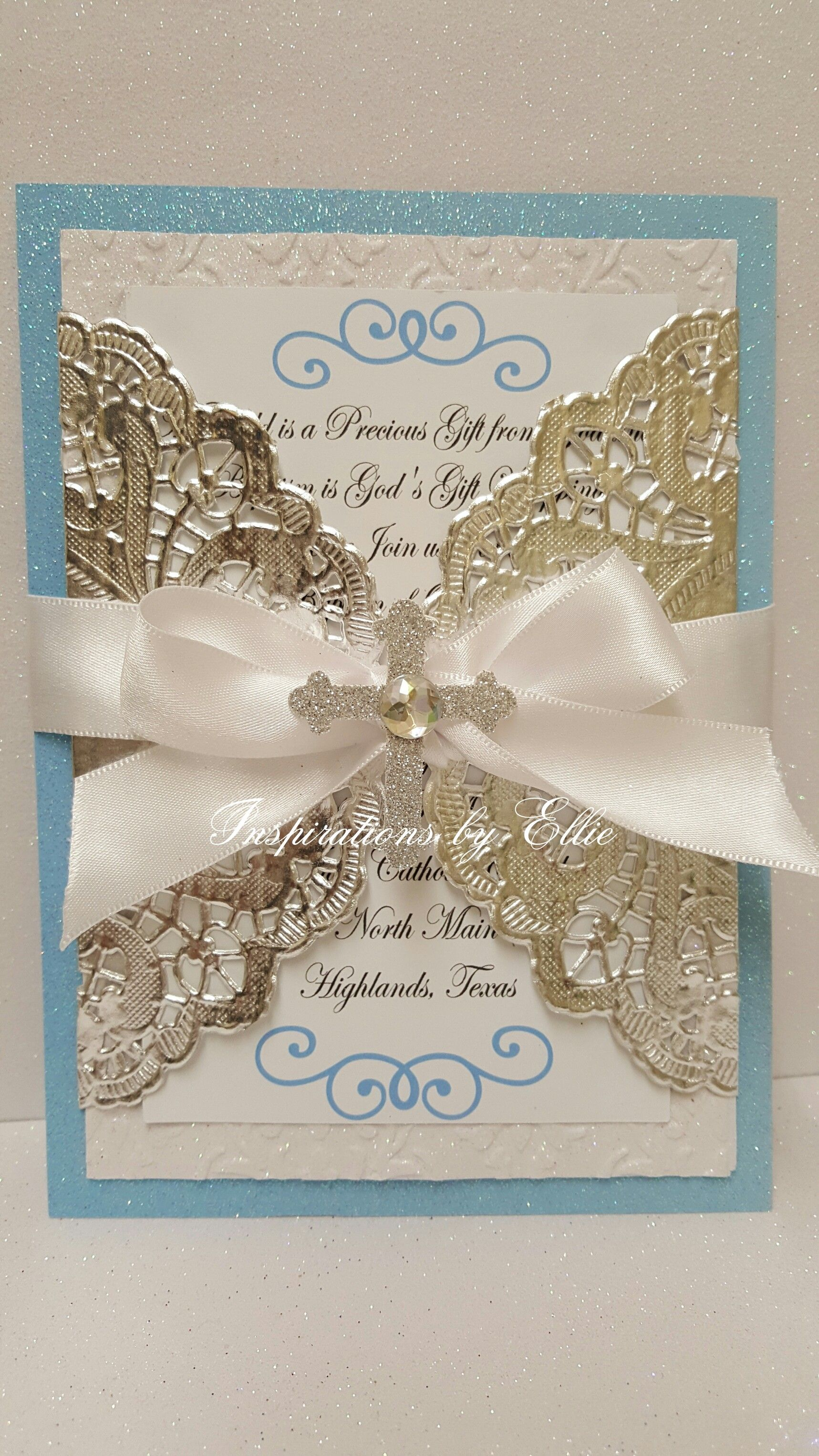 Boy Baptism Invitations Set of 12 with Cross | Baptism | Pinterest ...