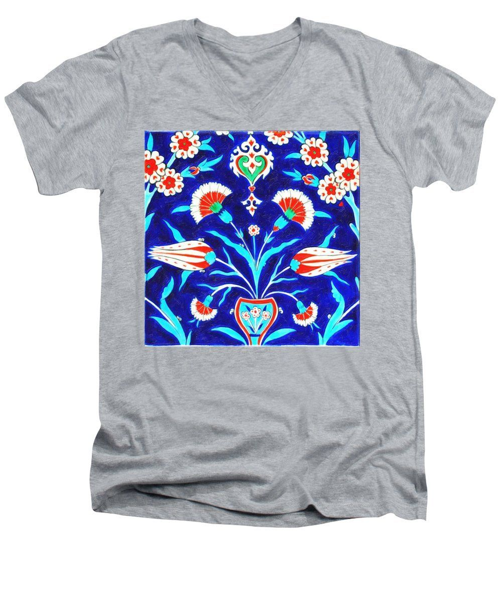 An Ottoman Iznik Style Floral Design Pottery Polychrome, By Adam Asar, No 48l Painting - Men's V-Neck T-Shirt