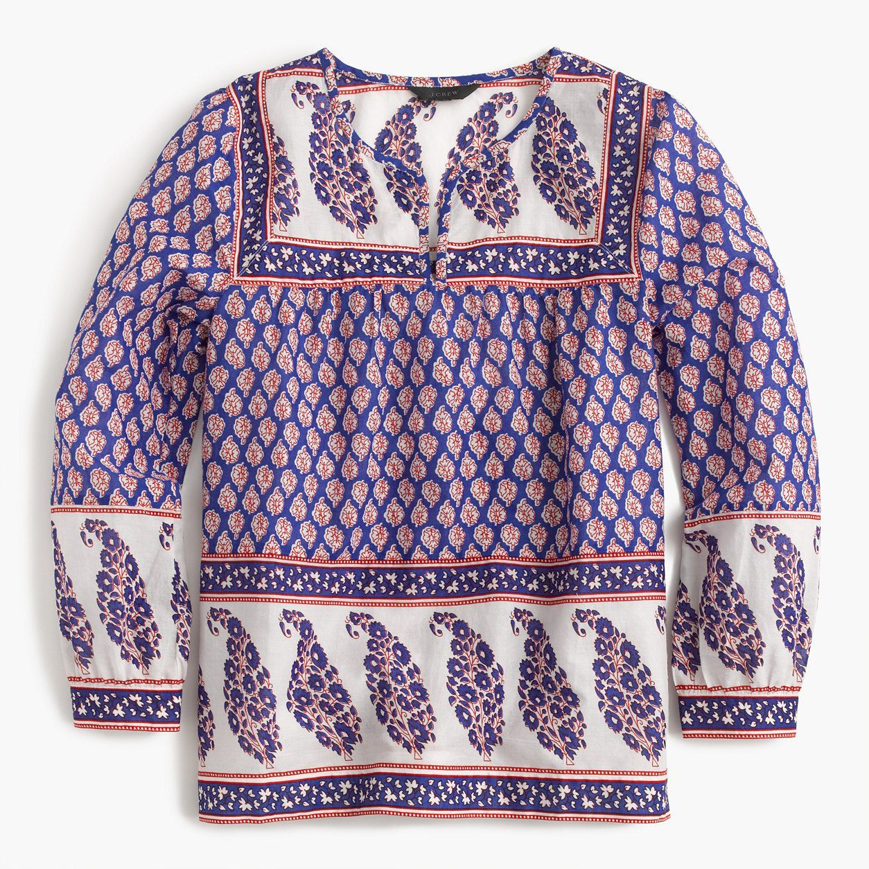 J.Crew Womens Tall Mixed Paisley Top