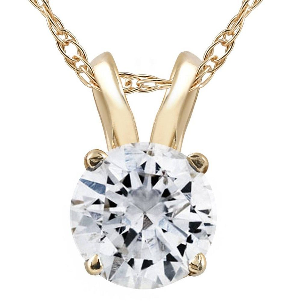 1//2ct Solitaire Diamond Pendant 14K White Gold