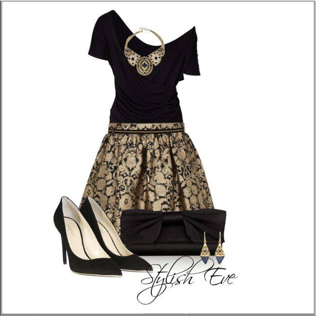 CHATA'S DAILY TIP!: This glamorous brocade skirt instantly transforms your basic black wardrobe from 'boring' to 'bravo'! When wearing a full skirt ensure you wear a shaped top to create an overall shaped silhouette. Repeat the old gold from the skirt with a dramatic necklace to create a young diva look – perfect for a stylish dinner, cocktails or an evening at the ballet. COPY CREDIT: Marlise du Plessis http://chataromano.com/consultant/marlise-duplessis/ IMAGE CREDIT: Fashion's Facebook…