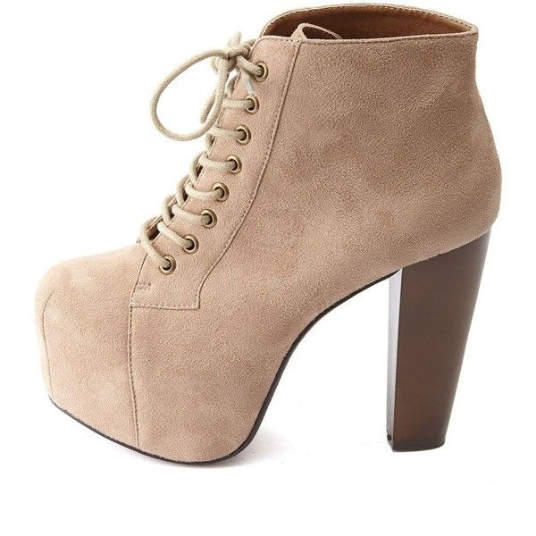 Charlotte Russe Lace Up Wooden Heel Platform Booties 24 Liked