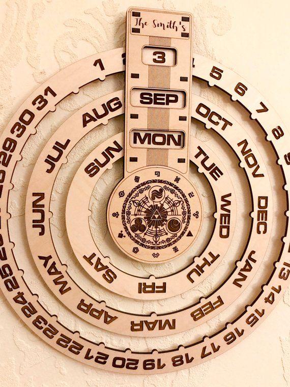 Calendario Perpetuo Da Parete.Calendario Perpetuo Calendario In Legno Calendario Perpetuo