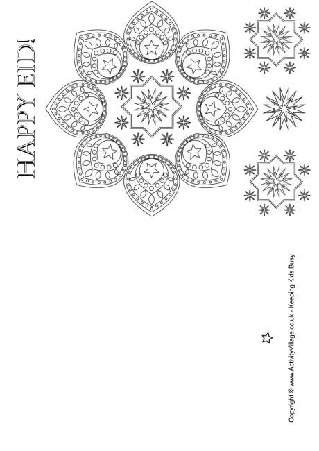 Happy Eid Colouring Card Happy Eid Eid Mubarak Card Eid Greeting Cards