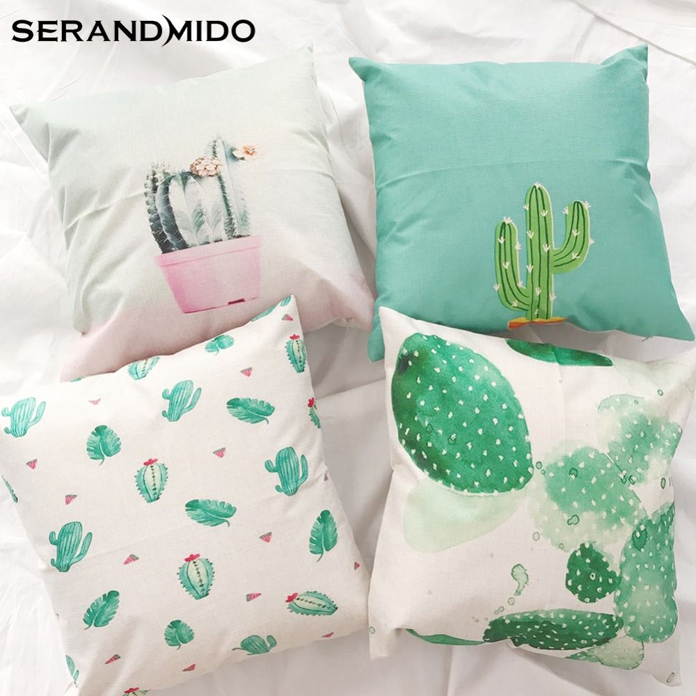 Cactus cushion covers green plant printing linen cotton square