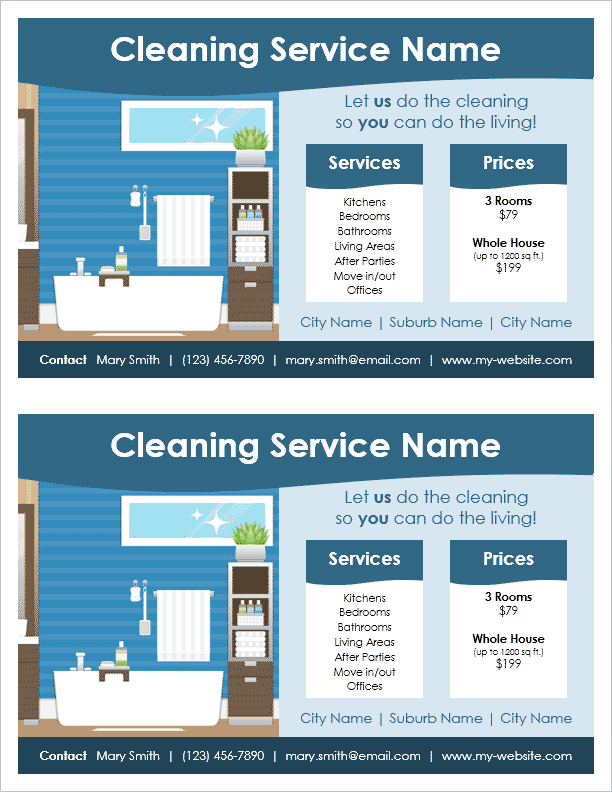 Cleaning service flyer template 2 per page by vertex42 for Price my house free online