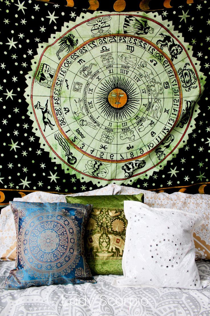 Green • Zodiac Calendar Tapestry & Pillow Covers by Lady Scorpio | Shop Now http://LadyScorpio101.com | @LadyScorpio101 | Photography by Luna Blue @Luna8lue | Boho Bedroom Inspiration.