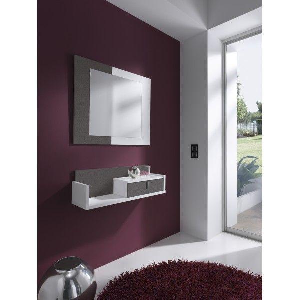 Conjunto recibidor formado por un espejo y un mueble estantera